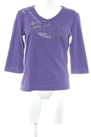 Cecil V-Ausschnitt-Shirt lila Motivdruck Casual-Look