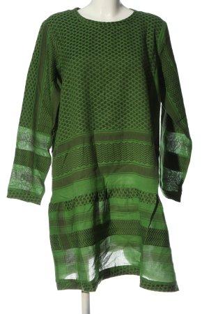 Cecilie Copenhagen Langarmkleid grün-braun grafisches Muster Casual-Look