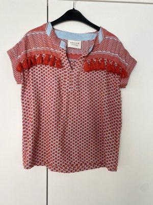 Cecilie Copenhagen shirt Bluse gr s 36 rot hellblau wie neu