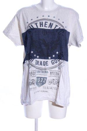 Cedar Wood State T-shirt bianco-blu Stampa a tema stile casual