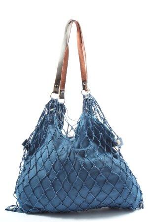 Cedon Bolso de tela azul-marrón look casual
