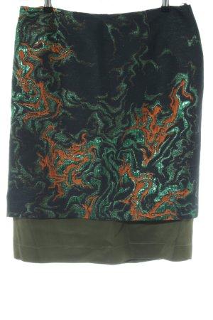 Cédric Charlier Midirock khaki-hellorange abstraktes Muster Elegant