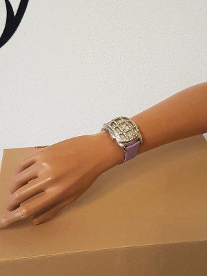 Horloge met lederen riempje zilver