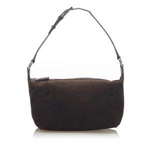 Celine Shoulder Bag dark brown suede