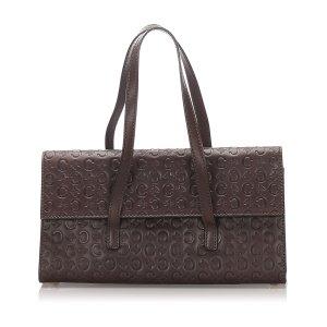 Celine Embossed Macadam Leather Handbag