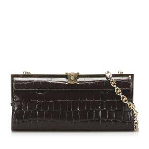 Celine Shoulder Bag dark brown leather