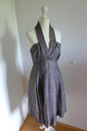 Celine Kleid Neckholder Abendkleid Seide braun grau stein Gr. 36 38 S
