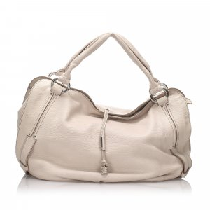 Celine Hobos white leather
