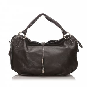 Celine Hobos dark brown leather
