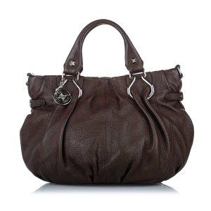 Celine Satchel dark brown leather