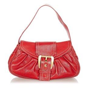 Celine Shoulder Bag red leather