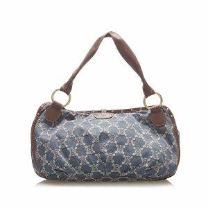Celine Shoulder Bag blue cotton