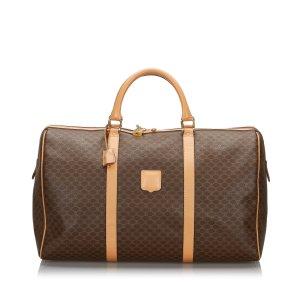 Celine Travel Bag dark brown polyvinyl chloride