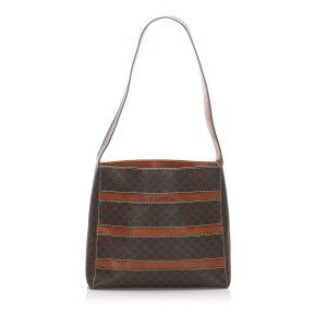 Celine Shoulder Bag dark brown polyvinyl chloride