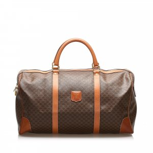 Celine Travel Bag dark brown polyvinyl chloride