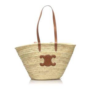 Celine Medium Basket Straw Tote Bag