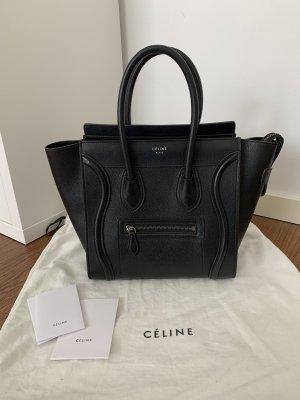 Céline Micro Luggage Bag schwarzes Kalbsleder Rechnung Tasche