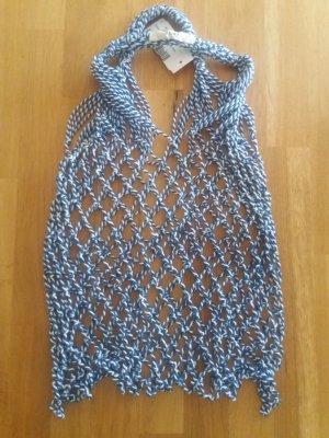 Celine Bolso de tela azul-blanco Algodón