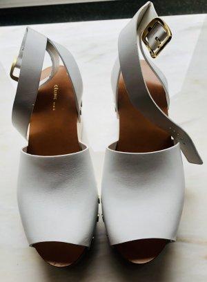 Celine Paris Platform Sandals white-sand brown leather