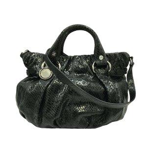 Celine Satchel black reptile leather