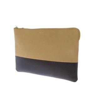 Celine Solo Bicolor Leather Clutch Bag