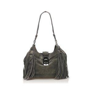 Celine Shoulder Bag green suede