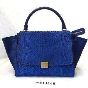 Celine Tasche Blau Python Leder Schulterriemen Medium Trapeze Bag Blue Suede