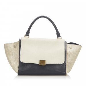 Celine Trapeze Bicolor Leather Satchel