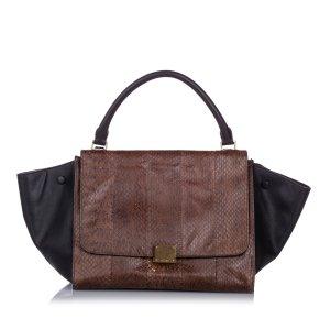 Celine Satchel brown reptile leather