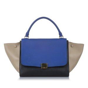 Celine Satchel blauw Leer