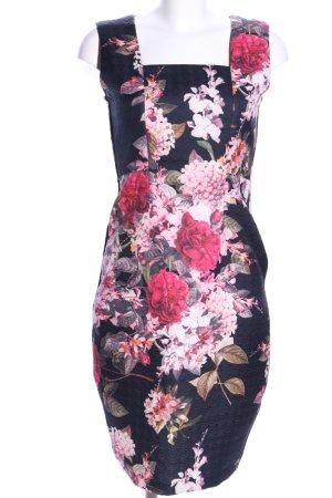 Robe fourreau noir-rose imprimé allover style décontracté