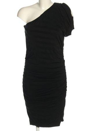 CeMe London Vestido de un hombro negro estampado a rayas look casual