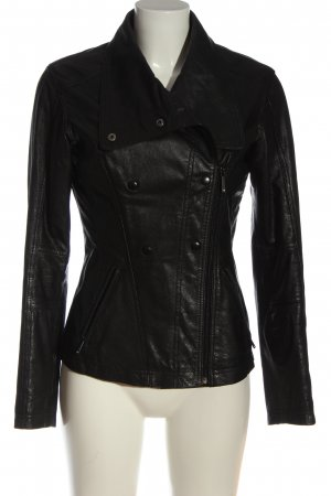 censured Leather Jacket black casual look