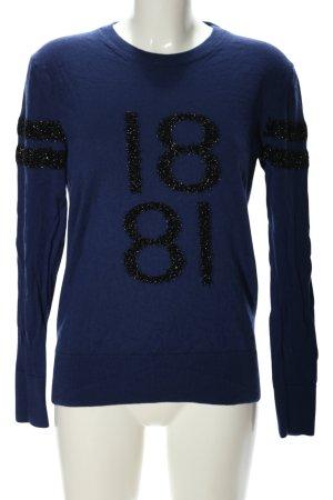 cerruti 1881 Sweter z okrągłym dekoltem niebieski-czarny Wydrukowane logo