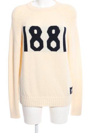 cerruti 1881 Wełniany sweter kremowy-czarny Wydrukowane logo W stylu casual