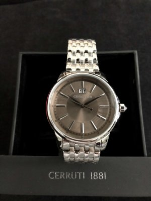 cerruti 1881 Watch With Metal Strap silver-colored-grey brown metal