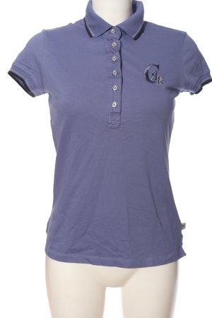 Cerruti Polo-Shirt blau Schriftzug gestickt Casual-Look