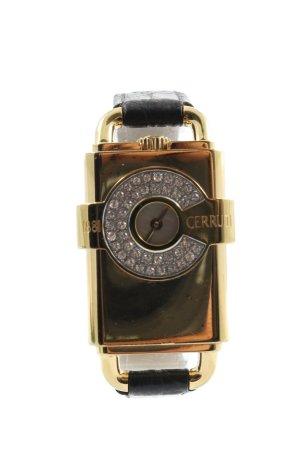 Cerruti Uhr mit Lederarmband goldfarben-schwarz Motivdruck Casual-Look