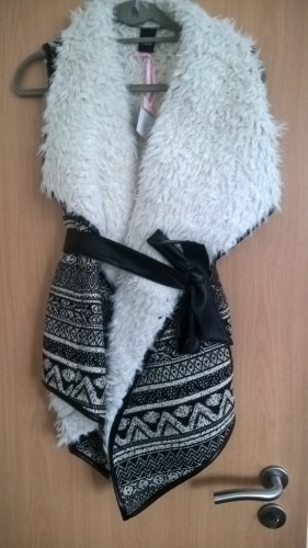 cest paris Fur vest black-natural white viscose
