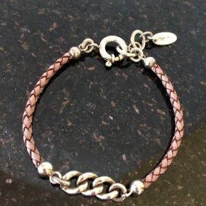 Bracelet silver-colored-dusky pink leather