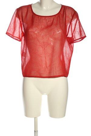 Chaloc Blusa trasparente rosso stile casual
