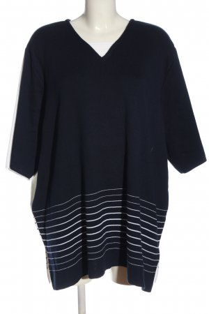 Chalou Short Sleeve Sweater black-white striped pattern casual look
