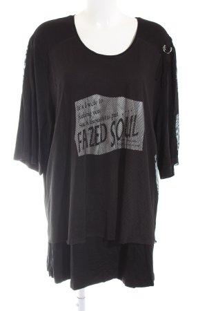 Chalou Camisa de malla negro-color plata letras impresas look casual