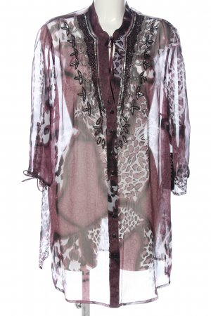 Chalou Transparent Blouse pink leopard pattern elegant