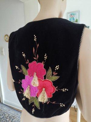 Chamara Sportswear Samtweste Blumenstickerei handgemacht schwarz/pink Gr. 36