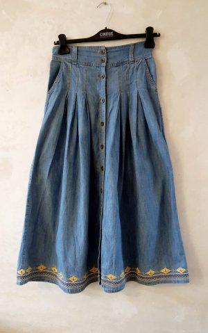 Vintage Jupe longue bleuet