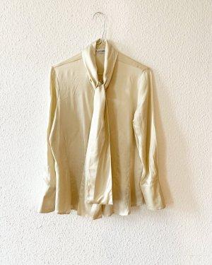 Vintage Blusa con lazo crema-beige claro