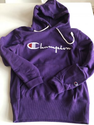 Champion Hooded Sweater blue violet cotton