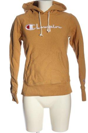 Champion Kapuzensweatshirt hellorange Schriftzug gestickt Casual-Look
