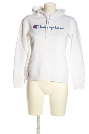 Champion Felpa con cappuccio bianco caratteri stampati stile casual